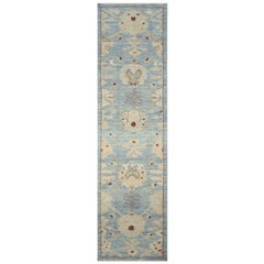 Modern Turkish Oushak Runner Rug with Ivory and Blue Floral Details