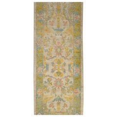 Modern Turkish Oushak Runner Rug with Multicolored All-Over Floral Details