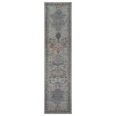 Modern Turkish Oushak Runner Rug with Navy & Brown Floral Details on Ivory Field