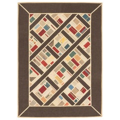 Modern Turkish Patch Kilim Rug with Colored Squares Pattern
