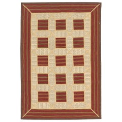 Modern Turkish Patch Kilim Rug with Ivory and Red Squares