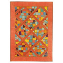 Modern Turkish Patch Kilim Rug with Mosaic Tiles and Geometric Pattern