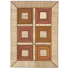 Modern Turkish Patch Kilim Rug with Orange and Red Squares