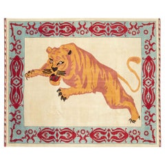 Modern Turkish Pictorial Tiger Room Size Carpet