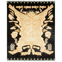 Modern Turkish Pictorial Tantra Room Size Carpet