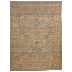 Modern Turkish Rug Handwoven Oushak Style with Colorful Flower Medallion Details