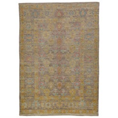 Modern Turkish Rug Oushak Weave with Blue and Pink Allover Floral Design