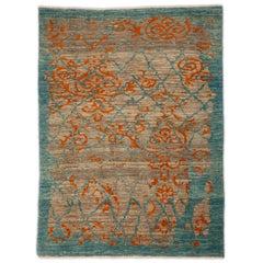 Modern Turkish Sultanabad Rug with Beige Field and Unique Blue & Orange Details