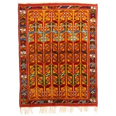 Modern Turkish Transitional Style Red and Gold Wool Rug