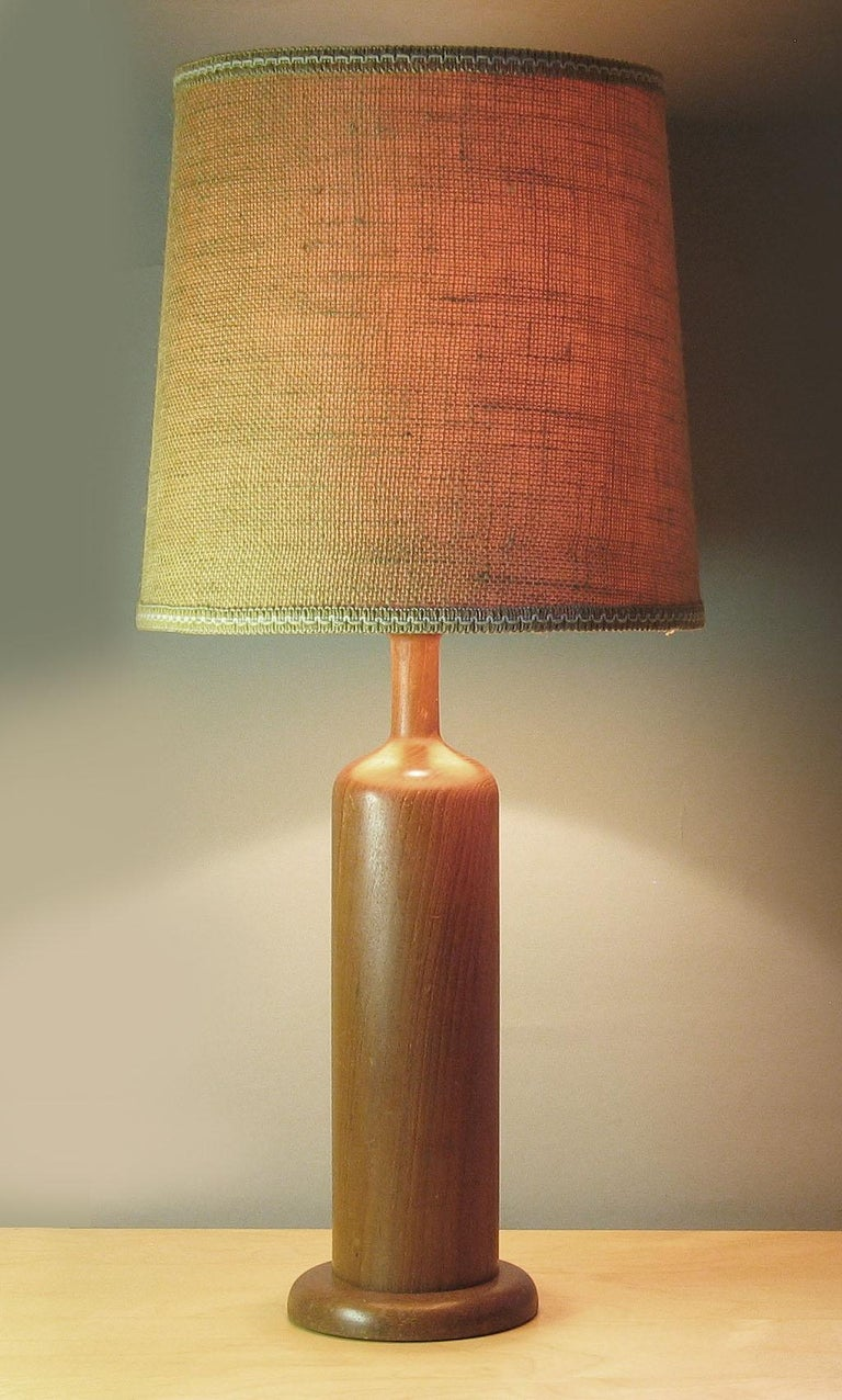 Modern Turned Teak Wood Bottle Form Table Lamp at 1stdibs