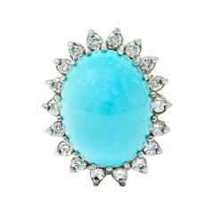 Modern Turquoise Diamond 14 Karat White Gold Cluster Ring
