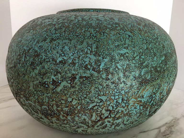 Mid-Century Modern Modern Turquoise Terracotta Pottery Vessel Bowl For Sale
