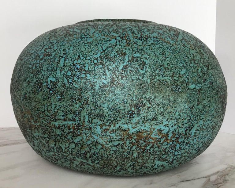 Glazed Modern Turquoise Terracotta Pottery Vessel Bowl For Sale