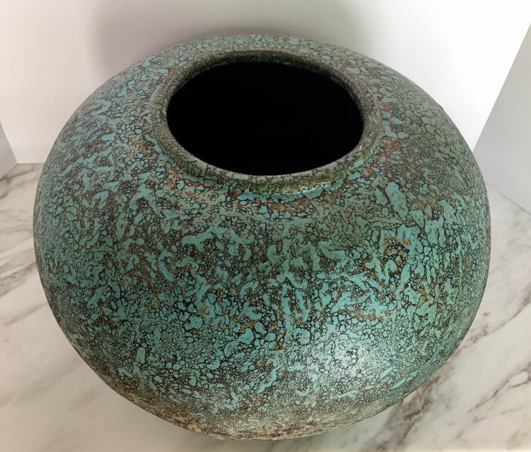 Contemporary Modern Turquoise Terracotta Pottery Vessel Bowl For Sale
