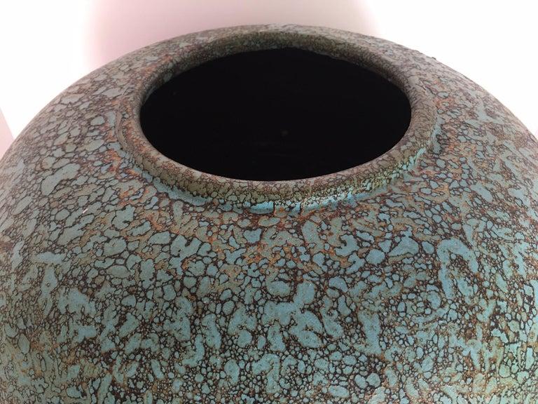 Ceramic Modern Turquoise Terracotta Pottery Vessel Bowl For Sale