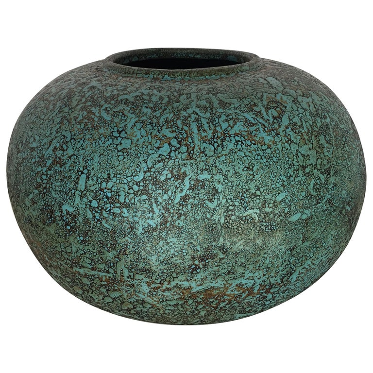 Modern Turquoise Terracotta Pottery Vessel Bowl For Sale