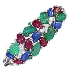 Modern Tutti-Frutti Bracelet Rubies Sapphires Emeralds Diamonds 18 Karat Gold