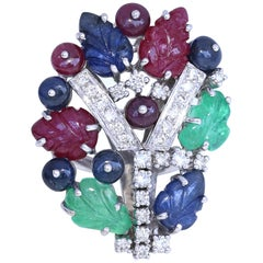 Modern Tutti Frutti Cocktail Ring Emeralds Sapphires Rubies Diamonds 5.5 Carat