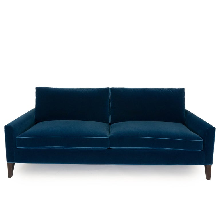 Modern Two Cushion Sofa In Dark Blue Velvet For Sale At 1stdibs