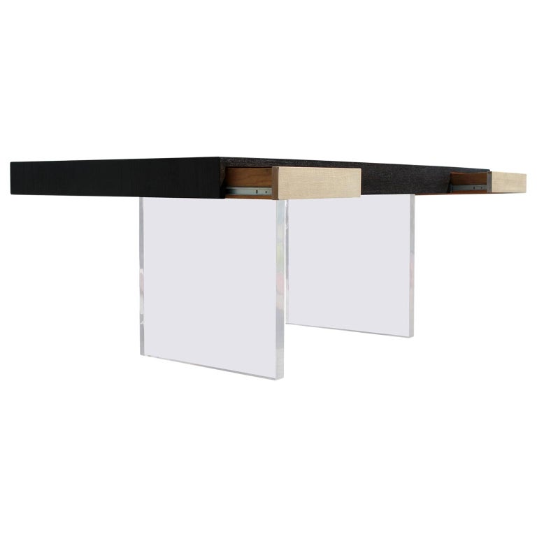 Modern Two Drawer Black and Natural Desk with Lucite Legs  For Sale