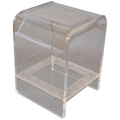 Modern Two-Tier Clear Acrylic and Crystallized Acrylic Side Table, End Table