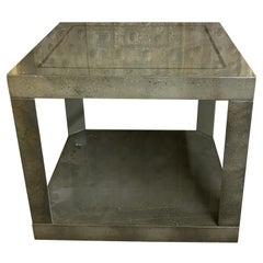 Modern Two-Tier Green and Gold Square Side Table