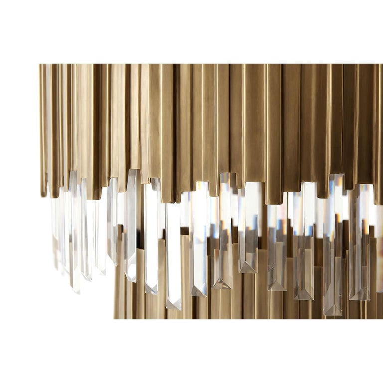 European Modern Two-Tiered Brass Chandelier For Sale