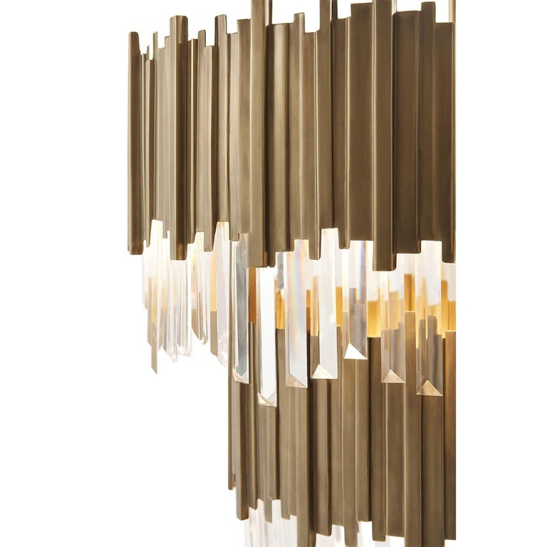 Contemporary Modern Two-Tiered Brass Chandelier For Sale