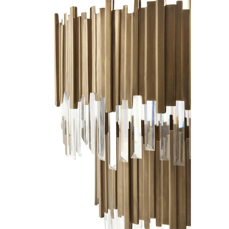 Modern Two-Tiered Brass Chandelier For Sale 1