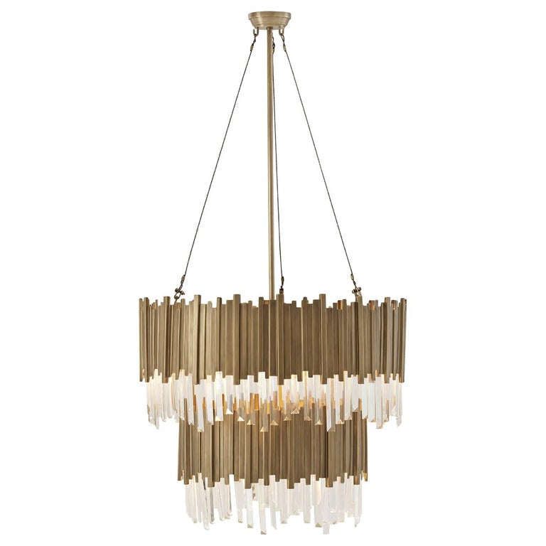 Modern Two-Tiered Brass Chandelier For Sale