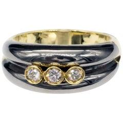 Modern Two-Tone 18 Karat Gold and Diamond Ring
