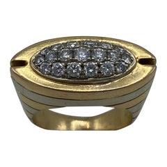 Modern Two Tone Rose Gold & White Gold Diamond Ring