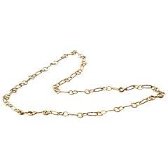 Modern Ugolini 18 Karat Gold Handmade Big Links Slightly Hammered Necklace