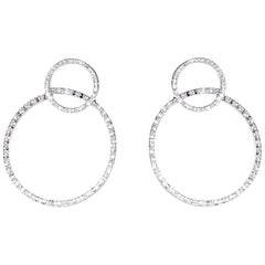 "Modern Ugolini 18 Karat White Gold 0.51 Karat White Diamonds ""Twirl"" Earrings"