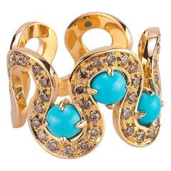 Modern Ugolini 18 Karat Yellow Gold 0.87Karat Brown Diamonds Torquoise Wave Ring