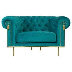 Modern UK Sofa in Blue Teal Velvet and Golden Detail, Chesterfield Sofa