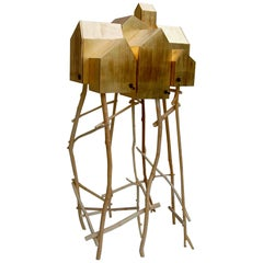 Modern Umberto Dattola for Dilmos Gold Standing Storage Sculpture Handcrafted
