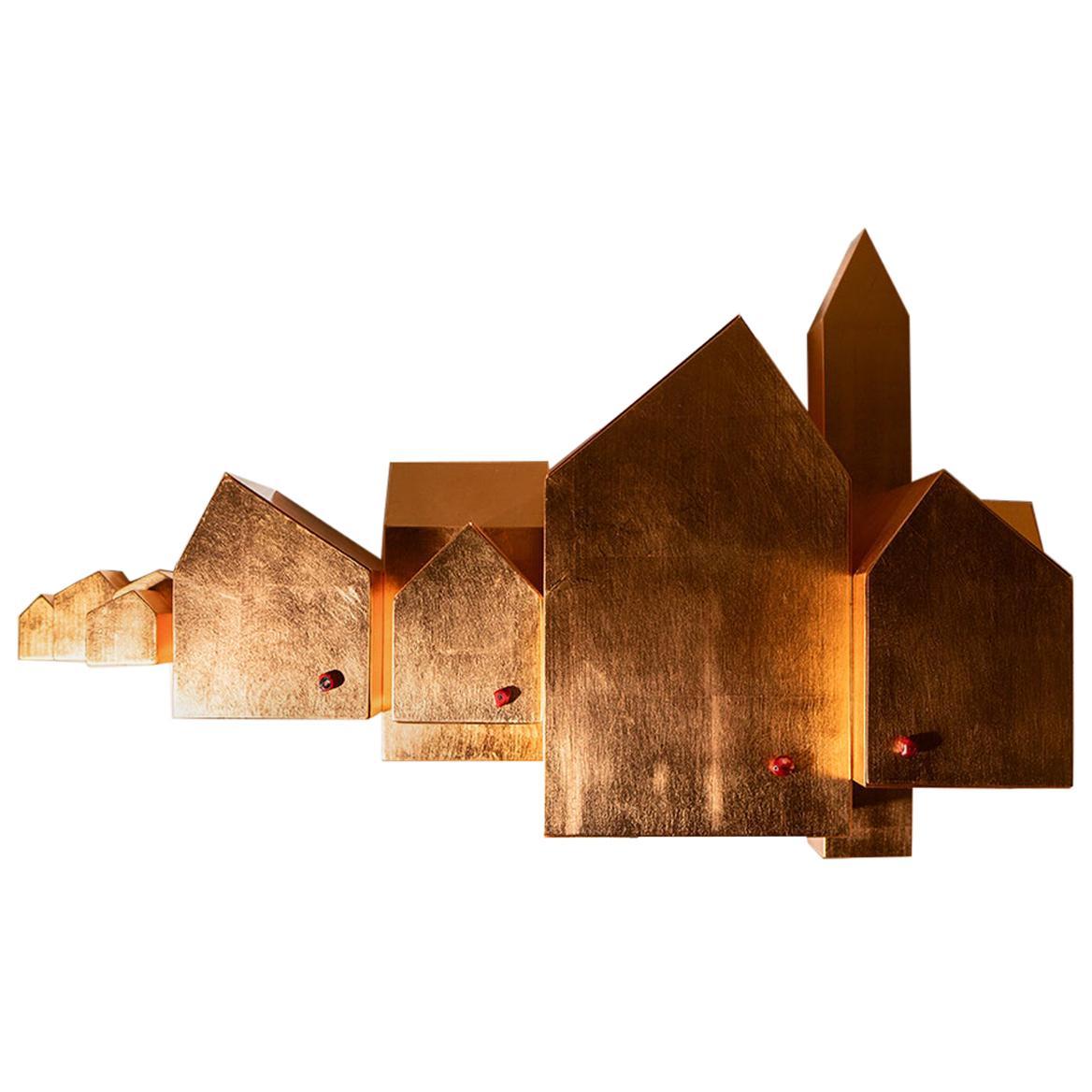 Modern Umberto Dattola for Dilmos Pink Leaf Storage Sculpture Handcrafted
