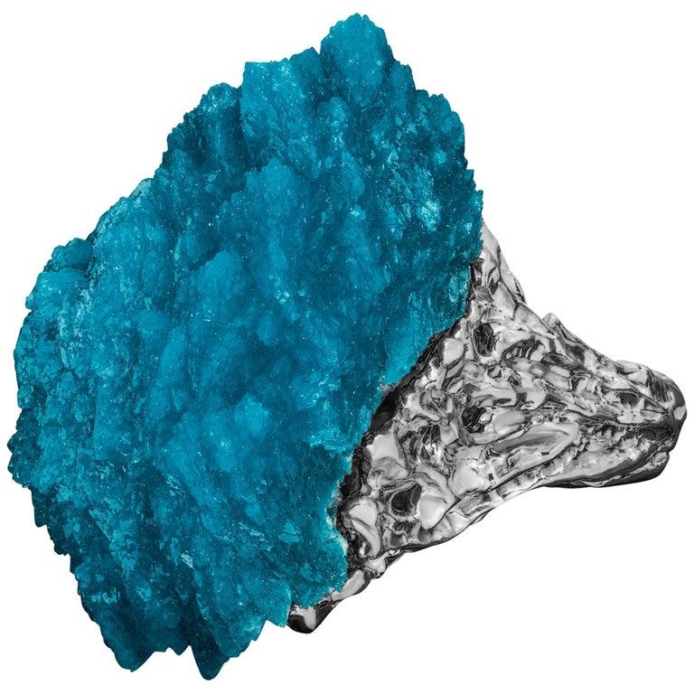 Modern Engagement Ring Cavansite 14 Karat White Gold Statement Blue Crystal Mens For Sale