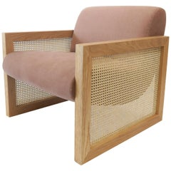 Modern Upholstered Chair, in Oak Frame, Cane Paneled Arms by Martin and Brockett