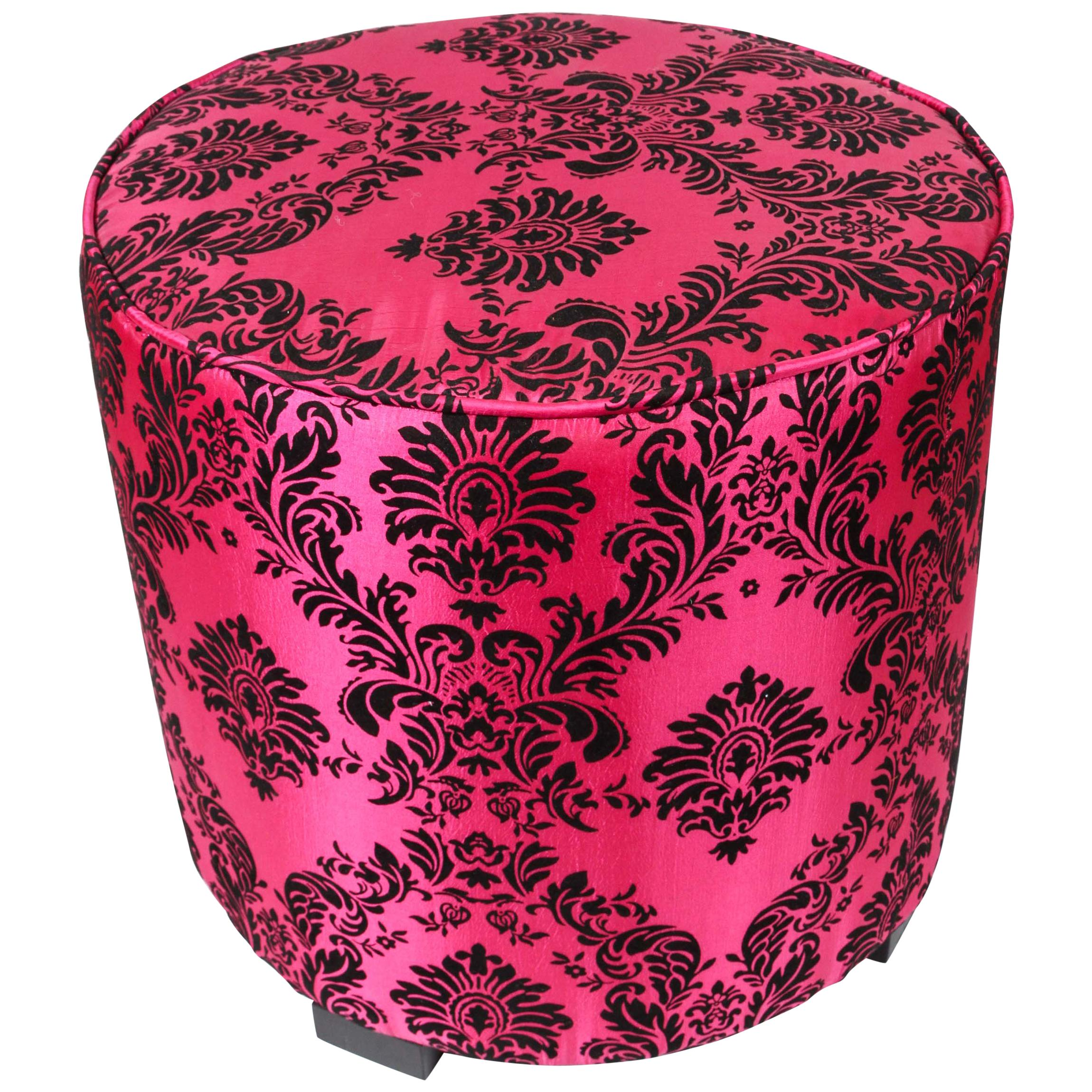 Post Modern Upholstered Moroccan Pouf in Hot Fuchsia Color