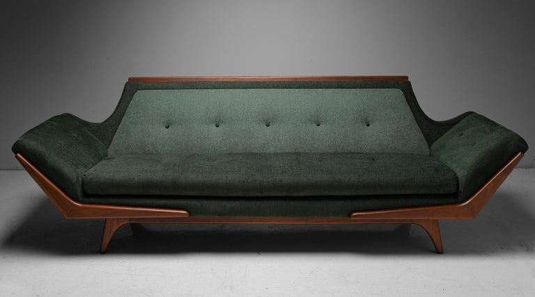 Modern Upholstered Sofa, circa 1960.  Newly upholstered in a selection of complimentary Maharam Fabrics, on original wooden frame. In the style of Adrian Pearsall.