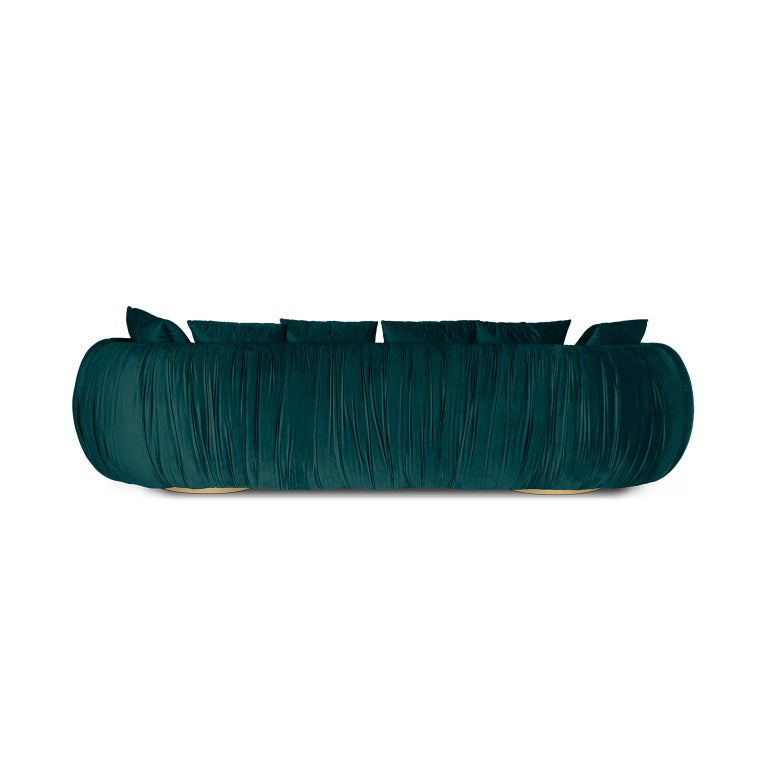 Portuguese Modern Upholstery Belly Sofa in Blue Velvet and Polished Brass Base For Sale