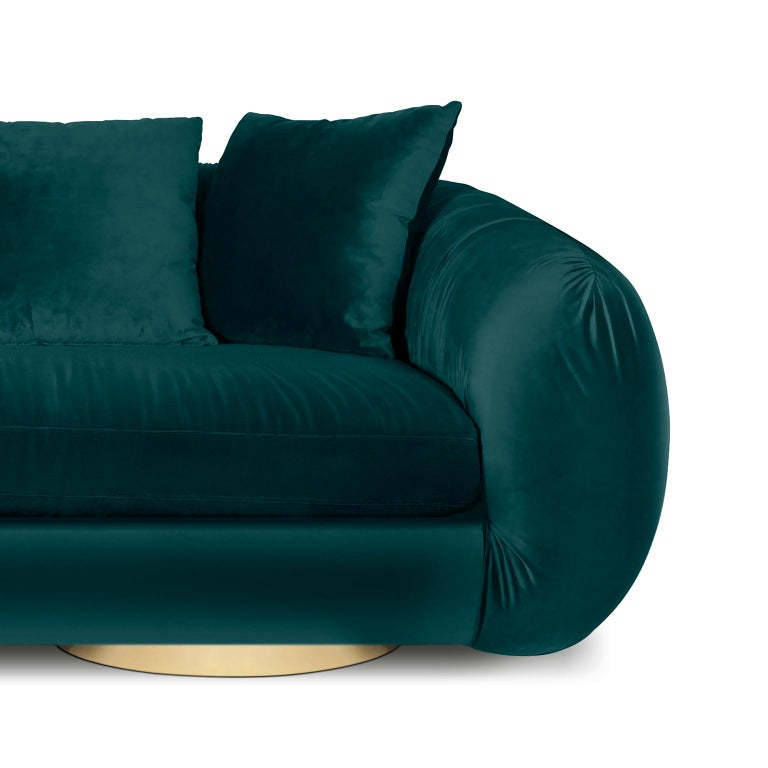 Contemporary Modern Upholstery Belly Sofa in Blue Velvet and Polished Brass Base For Sale