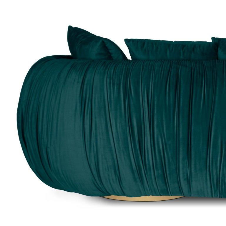 Modern Upholstery Belly Sofa in Blue Velvet and Polished Brass Base For Sale 1
