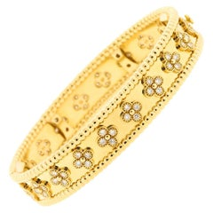 Modern Van Cleef & Arpels 18 Karat Yellow Gold Diamond Perlee Bangle Bracelet