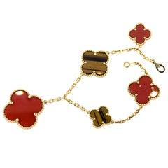 Modern Van Cleef & Arpels Lucky Carnelian and Tigers Eye Alhambra Bracelet