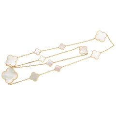Modern Van Cleef & Arpels Mother of Pearl Magic Alhambra Necklace