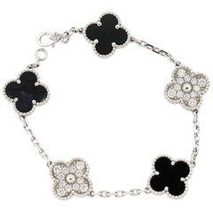 Modern Van Cleef & Arpels Onyx Diamond Alhambra Bracelet