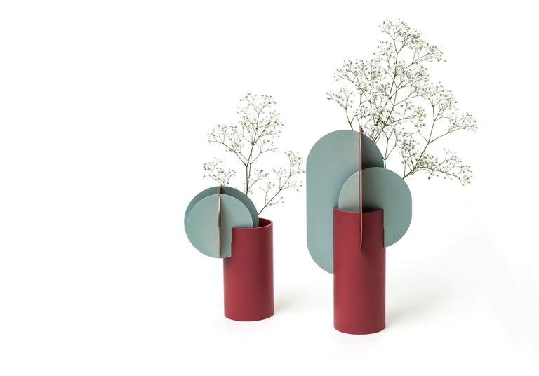 Brushed Modern Vase Delaunay CS1 by Noom in Copper and Steel For Sale